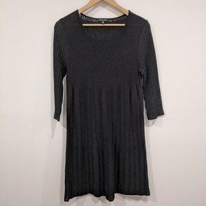 Eileen Fisher Ribbed Knit Italian Wool Dress Black